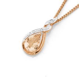9ct-Rose-Gold-Morganite-Diamond-Pendant on sale