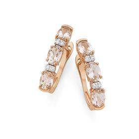 9ct-Rose-Gold-Morganite-and-Diamond-Accents-Huggie-Earrings on sale