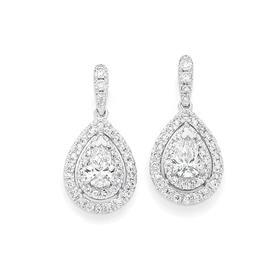 18ct-White-Gold-Diamond-Pear-Shape-Drop-Earrings on sale
