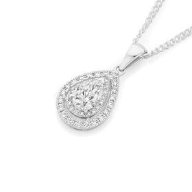 18ct-White-Gold-Diamond-Pear-Pendant on sale