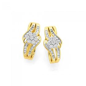 9ct-Gold-Diamond-Flower-Cluster-Hoop-Earrings on sale
