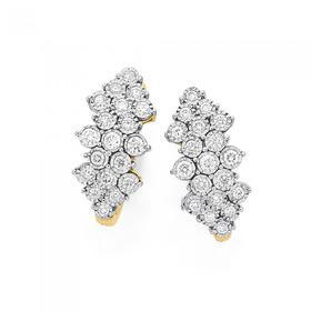 9ct-Gold-Diamond-Cluster-Hoop-Earrings on sale