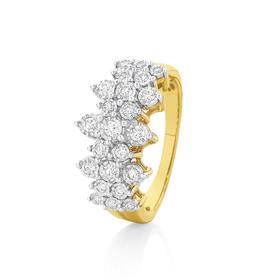 9ct-Gold-Diamond-Fancy-Cluster-Dress-Ring on sale