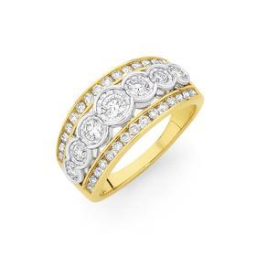 9ct-Gold-Diamond-Three-Row-Band on sale