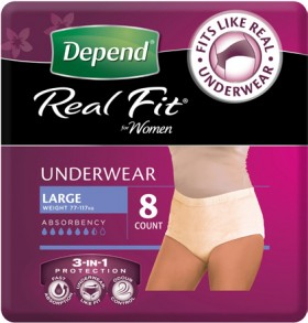 Depend-Real-Fit-Underwear-for-Women on sale