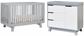 Babyletto-Hudson-Cot-in-Grey-with-Matching-Grey-and-White-Dresser on sale