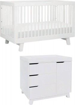 Babyletto-Hudson-Cot-in-White-with-Matching-White-Dresser on sale