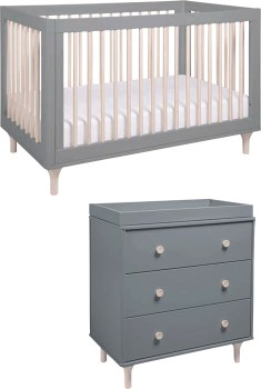 Babyletto-Lolly-Cot-Grey-Washed-Natural-with-Matching-Dresser on sale
