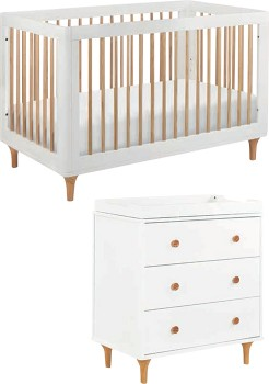 Babyletto-Lolly-Cot-White-Natural-with-Matching-Dresser on sale