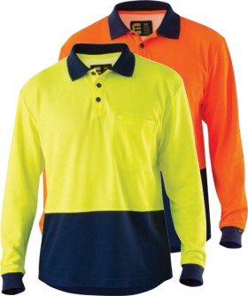 ELEVEN-Workwear-Hi-Vis-Cotton-Backed-Spliced-LS-Polo-Shirt on sale