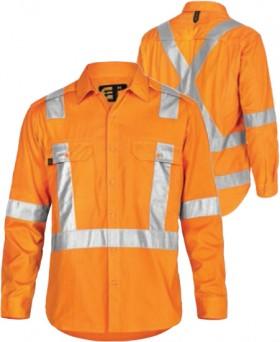 ELEVEN-Workwear-AeroCool-Hi-Vis-LS-Shirt-with-3M-X-Pattern-Tape on sale