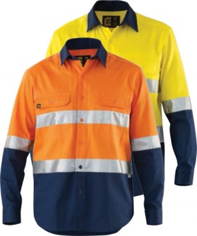 ELEVEN-Workwear-Hi-Vis-Cotton-Drill-Spliced-LS-Shirt-with-3M-Tape on sale