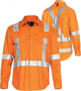 ELEVEN-Workwear-Hi-Vis-LS-Drill-Shirt-with-3M-X-Pattern-Tape on sale