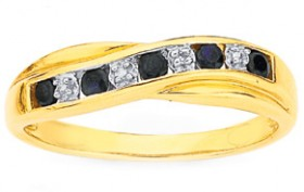 9ct-Gold-Black-Sapphire-Ring on sale