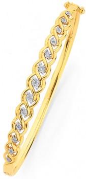 9ct-Gold-Diamond-Bangle on sale