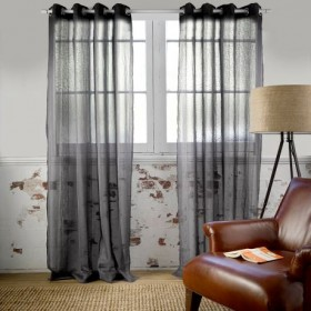 Houston-140x230cm-Sheer-Eyelet-Curtain-in-Charcoal on sale