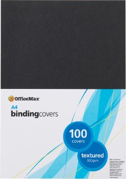 OfficeMax-Leathergrain-Binding-Cover-300gsm-A4-Black on sale