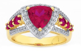 9ct-Gold-Created-Ruby-Diamond-Ring on sale