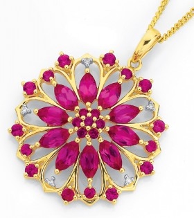 9ct-Gold-Created-Ruby-Diamond-Pendant on sale