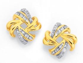9ct-Gold-Diamond-Swirl-Knot-Stud-Earrings on sale