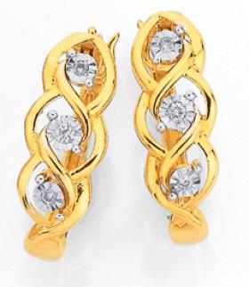 9ct-Gold-Diamond-Weave-Huggie-Earrings on sale