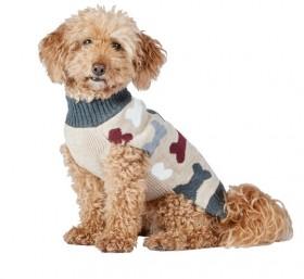 Bond-Co-Bone-Print-Dog-Sweater-Oatmeal on sale
