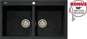 Oliveri-Santorini-Double-Bowl-Topmount-Black-Granite-Sink on sale