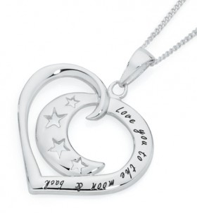 Sterling-Silver-Love-You-to-the-Moon-Back-Pendant on sale