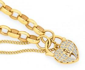 9ct-Gold-19cm-Solid-Belcher-Padlock-Bracelet-with-Diamonds on sale