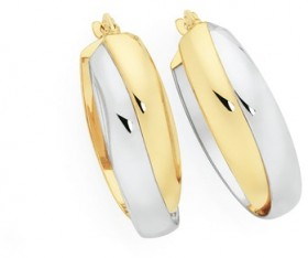 9ct-Gold-on-Silver-Two-Tone-Oval-Hoop-Earrings on sale