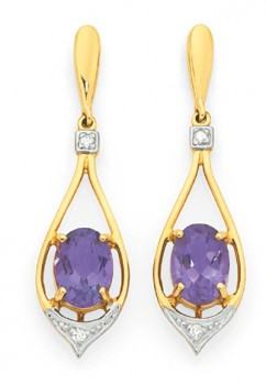 9ct-Gold-Amethyst-Diamond-Floating-Oval-Teardrop-Stud-Earrings on sale