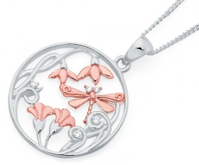 Sterling-Silver-Rose-Plate-Pendant on sale