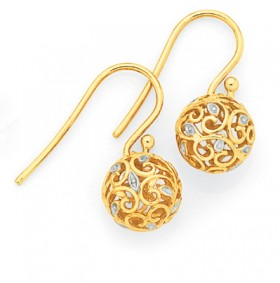 9ct-Gold-Two-Tone-Filigree-Ball-Drop-Earrings on sale