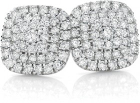 9ct-White-Gold-Diamond-Cluster-Stud-Earrings on sale