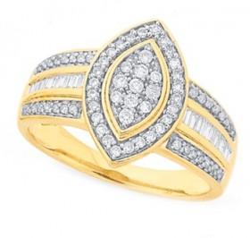 9ct-Gold-Diamond-Marquise-Shape-Dress-Ring on sale