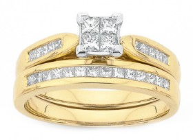 18ct-Gold-Diamond-Bridal-Ring-Set on sale