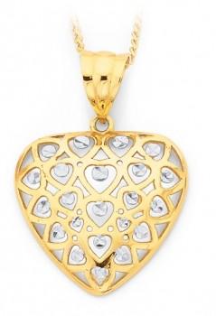 9ct-Gold-Two-Tone-Multi-Hearts-Pendant on sale
