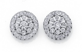 Sterling-Silver-Round-Cluster-CZ-Earrings on sale