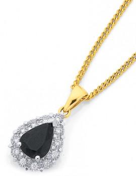 9ct-Gold-Sapphire-Diamond-Pear-Cut-Framed-Pendant on sale