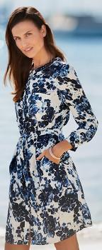 Simply-Vera-Vera-Wang-Blue-Lagoon-Floral-Tab-Sleeve-Shirt-Dress on sale