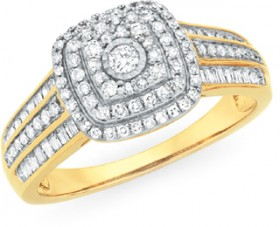 9ct-Gold-Diamond-Cushion-Shape-Dress-Ring on sale