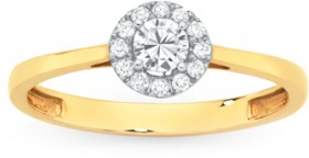 9ct-Gold-Diamond-Halo-Design-Ring on sale