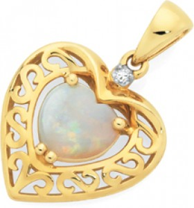 9ct-Gold-White-Opal-Diamond-Pendant on sale