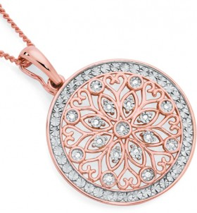 9ct-Rose-Gold-Diamond-Filigree-Pendant on sale