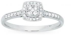 9ct-White-Gold-Diamond-Cushion-Ring on sale