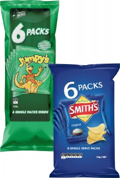 Smiths-Chips-6-Pack-114g-or-Jumpys-Snacks-6-Pack-108g on sale