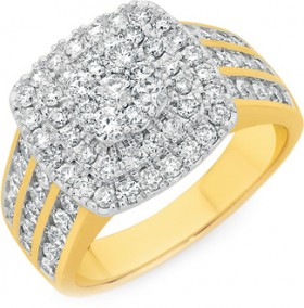 9ct-Gold-Diamond-Cushion-Shaped-Cluster-Ring on sale