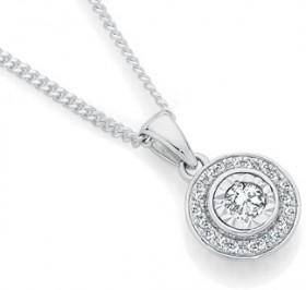 9ct-White-Gold-Diamond-Halo-Pendant on sale