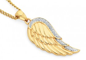 9ct-Gold-Angel-Wing-Pendant on sale
