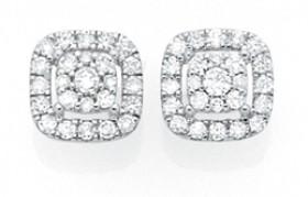 9ct-Gold-Diamond-Cushion-Halo-Stud-Earrings on sale